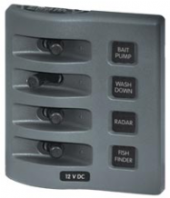 Blue Sea WEATHERDECK(TM) WATERPROOF PANEL, 4 way.  Switch only. No Backlight or Fuses.  Incl. VAT